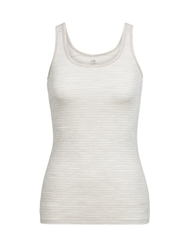 Icebreaker Merino Women's Siren Tank, Stripe/Fawn Heather/Snow, - Stripes Fawn