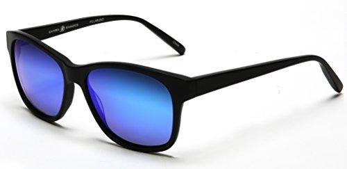 Samba Shades Polarized Classic Wayfarer Inspired Paris - London Women's Sunglasses with Matte Black Frame, Revo Blue Mirror - Y Sunglasses London