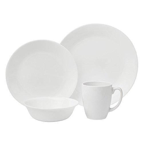 Corelle Livingware 16-Piece Dinnerware Set, Winter Frost White, Service for 4