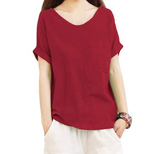 Section Manches T en Mince Soie en dcontracte Shirt Mousseline Courtes Lin de Pull Chemise dcontracte 5XL S en dcontracte Rouge Chemisier Coton Juleya xITY6qwZ