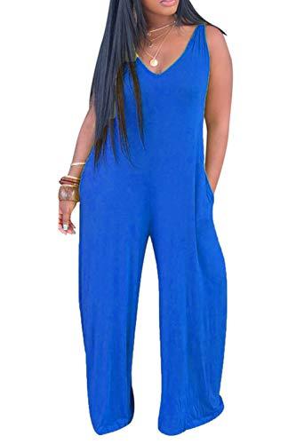 Katblink Long Romper Jumpsuit for Women - Casual Sleeveless V-Neck Hooded Solid Color Wide Leg Pants Set Blue 2XL - Hooded Short Romper