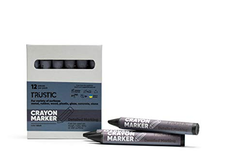 Trustic Crayon Wax Marker for Ambient Surface Detailed Marking on Wood Metal Carton Ceramics Concrete Glass Plastic Rubber, Pack of 12 - ()