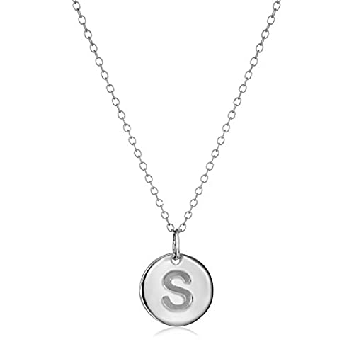 S necklace amazon sterling silver round disc initial s pendant necklace 1864 aloadofball Choice Image