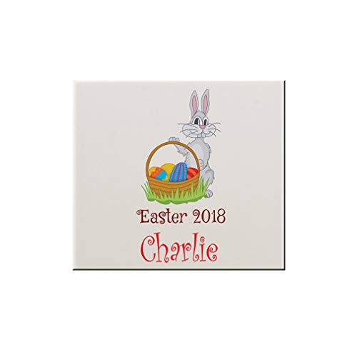 Style In Print Personalized Custom Text Easter Bunny Basket Ceramic Accent Mural Tile Backsplash - 6
