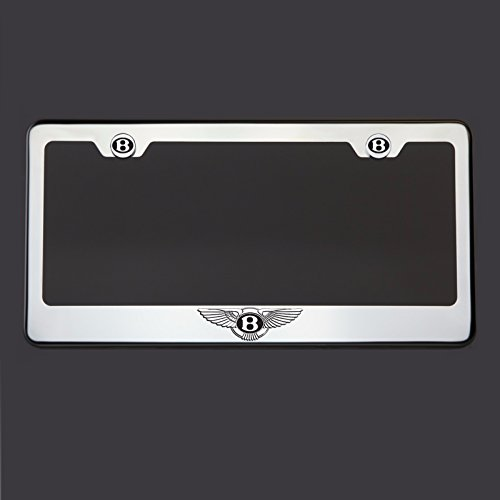 Black Lettering Laser Engraved Mirror Polish Stainless Steel Fit Bentley Logo License Plate Frame Holder Front Or Rear Bracket Steel Chrome Screw Cap