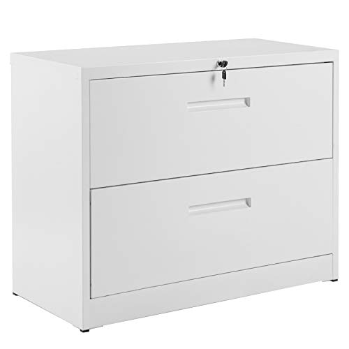 P PURLOVE Lateral File Cabinet Lockable Heavy Duty Metal File Cabinet with 2 Drawer (White)