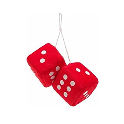 "Vintage Parts 14555 3"" Red Fuzzy Dice with White Dots - Pair: Automotive"