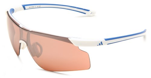 adidas Adizero Tempo L A185 6053 Shield Sunglasses,White & Blue Frame/LST Active Silver Lens,One Size