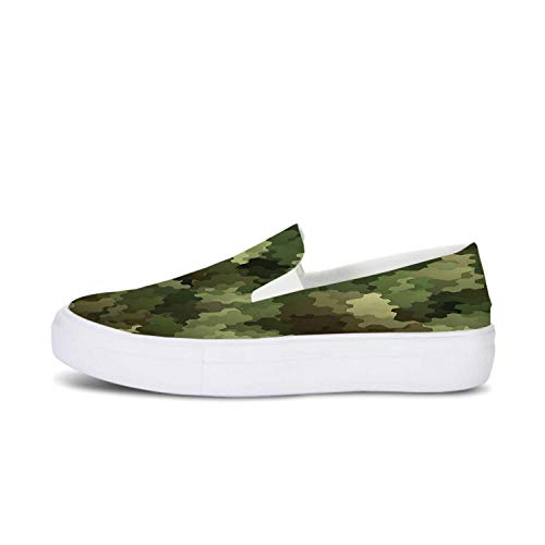 Camo Canvas Slip On Shoes,Frosted Glass Effect Hexagonal Abstract Being Invisible Woodland Army for Women,US 10.5