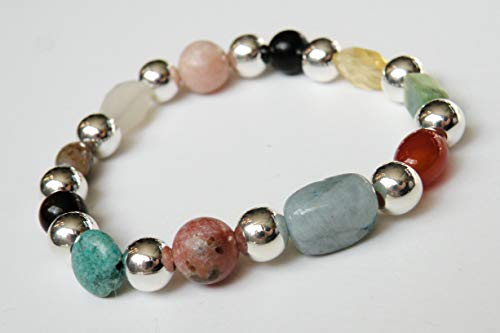 Menopause Natural Gemstone Healing Bracelet with Silver Beads stretch ()