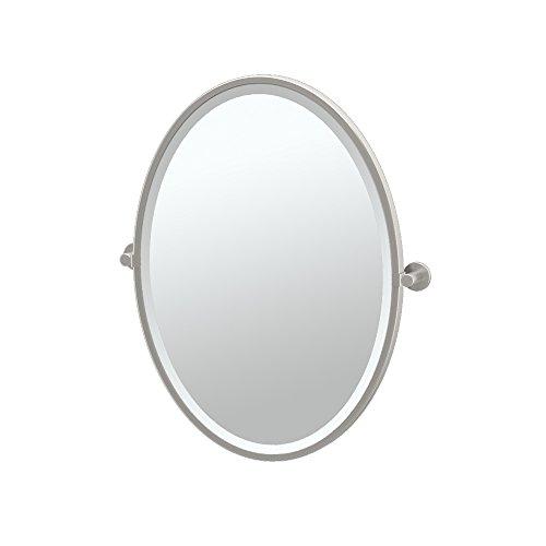 Gatco 4699F Channel Framed Oval Mirror, Satin Nickel