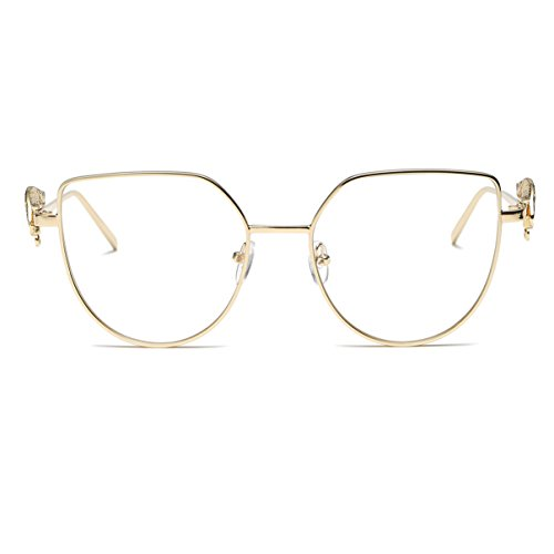Amomoma Cat Eye Vintage Fashion Sunglasses with Wings Leg & Metal Chain AS1703 Gold Frame/Clear - Where They Sunglasses Are