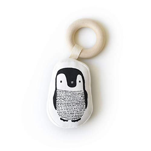 - Wee Gallery, Penguin Teether, Organic Cotton with Wooden Ring