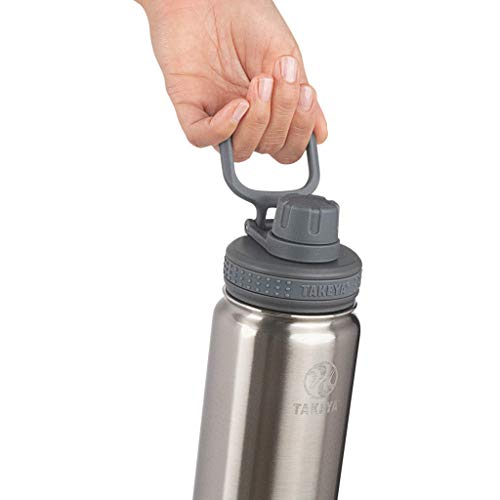 Takeya Actives Insulated Water Bottle w/Spout Lid, Stainless Steel, 22 Ounce