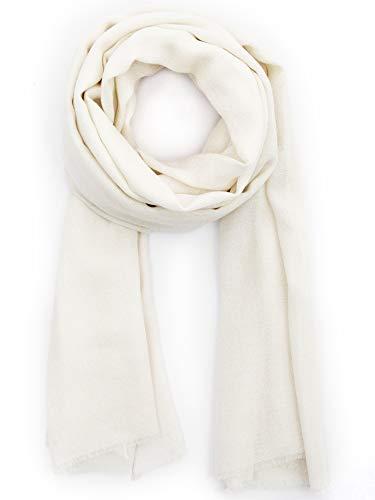 Cashmere Feel Wool Silk Blend Scarf Unisex Pashmina Men's Women's Shawl Pristine (White Scarf Wool)