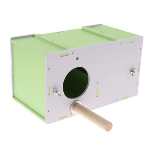 Green FidgetFidget Parakeet Budgie Cockatiel Breeding Nesting Bird Cage Box 26.5 x 14.5 x 15cm Green