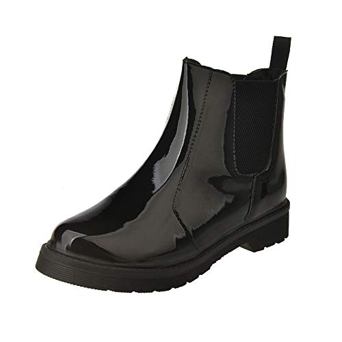 Londony ♥‿♥ Clearance 2018,Women's Shiny Short Rain Boots Waterproof Slip On Ankel Waterproof Black Shoes