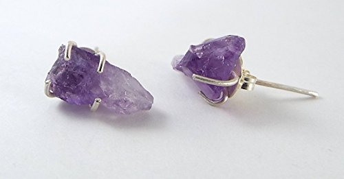 *DISCONTINUED* Raw Amethyst 4 Prong Sterling Silver Post Earrings -