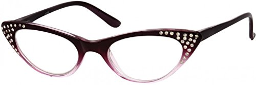 - Readers.com The Paulina Rhinestone Cat Eye Reading Glasses Full Frame Readers for Women, 3.50 Purple Fade (Microfiber Cleaning Carrying Pouch Included)