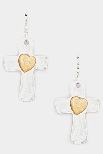 glitz-finery-matte-finish-touch-cross-heart-centered-dangle-earring-matted-silver