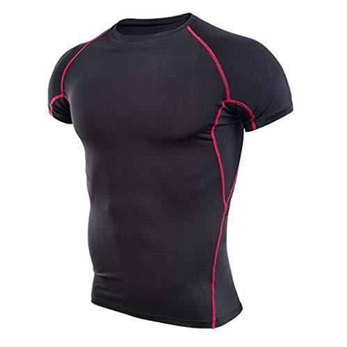 ANJUNIE Mens Fitness Bodybuilding Skin Shirt Tight-Drying Short Sleeves Tops Pant Suit(Red,L) (Capri Cardinal)