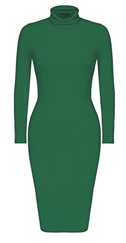 Femmes Longue Bouteille Con Robe Midi Corps Vert Clair Manches