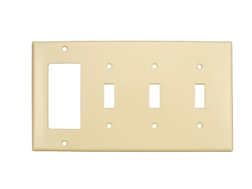 Leviton P326-I 4-Gang 3-Toggle 1-Decora/GFCI Device Combination Wallplate, Ivory