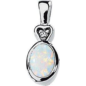 Pendentif Cabochon Opale véritable et diamant