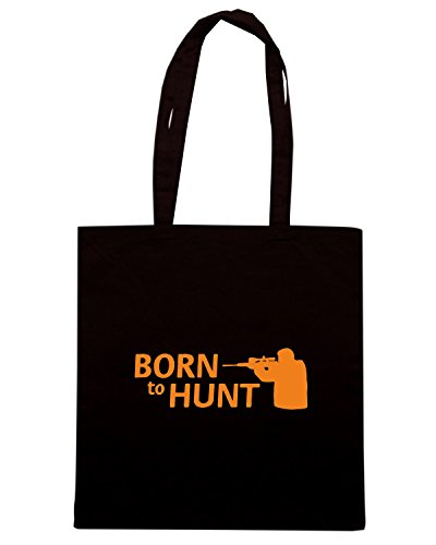 T-Shirtshock - Bolsa para la compra FUN0844 born to hunt hunting decal 55 63112 Negro
