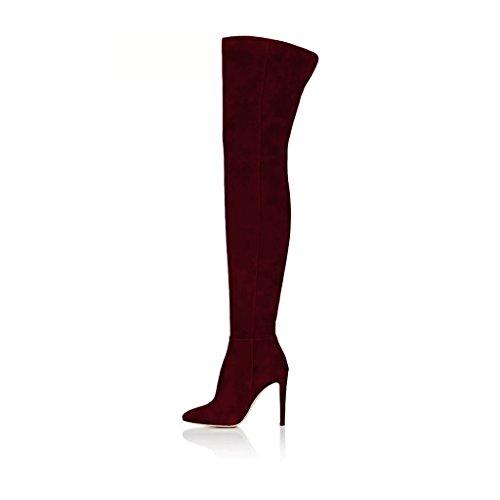 Fsj Vrouwen Chique Faux Suede Kniehoge Lange Laarzen Puntige Zijrits Hoge Hakken Schoenen Maat 4-15 Ons Wijn