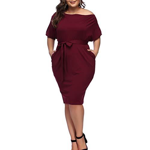 HOOYON Plus Size Dress Women's Off Shoulder Long Sleeve Shiny Bodycon Mini Dress (4XL, Red-2) ()
