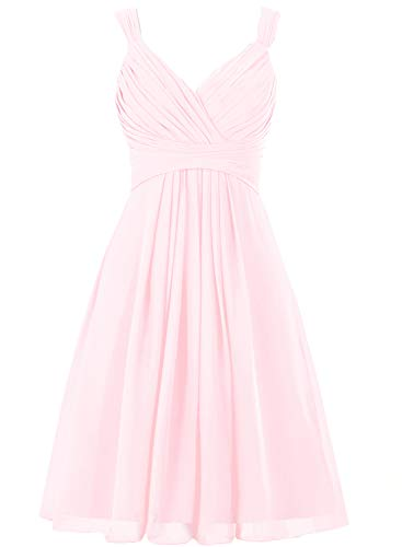 Bridesmaid Dress Short Prom Dress Chiffon Simple Party Dress for Junior Blushing XXL