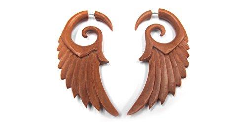 Urban Body Jewelry Wooden Angel Wing Fake Gauge Spiral Tribal Earrings (19G - 0.9mm) (UL146) -