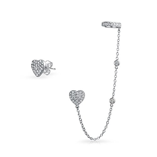 - Heart Shaped Chain Cartilage Ear Cuff Wrap Earring Pave CZ Stud Helix Earring Stud Set 925 Sterling Silver