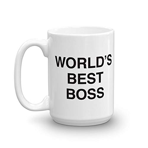 The Office World's Best Boss Dunder Mifflin Ceramic Mug, White 15 oz - Official Michael Scott Mug As Seen On The Office
