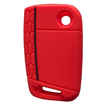 Horande 4 Button Silicone Key Cover Case Remote Fob Protector fit for VW 2016-2020 Golf Polo GTI 2020 2020 Tiguan Keyless Entry Remote Key Fob Skin (Red+Blue): Automotive
