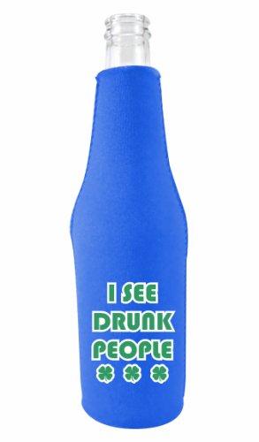 Cheap Coolie Junction I See Drunk People Funny Bottle Coolie Royal Blue w/Opener