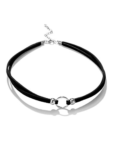 Silver Circle Cord - Black Choker Necklace Choker Necklace Black Velvet Choker Necklace for Women Girls Gothic Cord Circle Ring Silver Mother Girlfriend Wife Grandma Daughter Fashion Jewelry