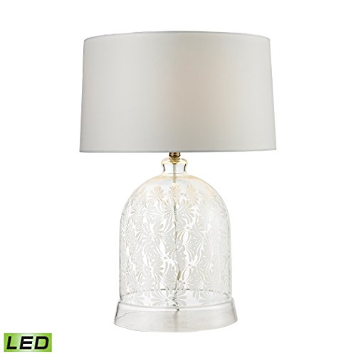 Elk Lighting D2728-LED Landscape Painted Bell Glass LED Table Lamp in Clear and White