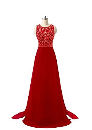 NewFex Long Chiffon Prom Dresses Sheer Neck Top A Line Evening Gown With Beads Floor Length Party Dresses