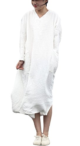 Soojun Sleeve With Long Calf White Linen Length Retro Women's Cotton Dresses Pa7PO