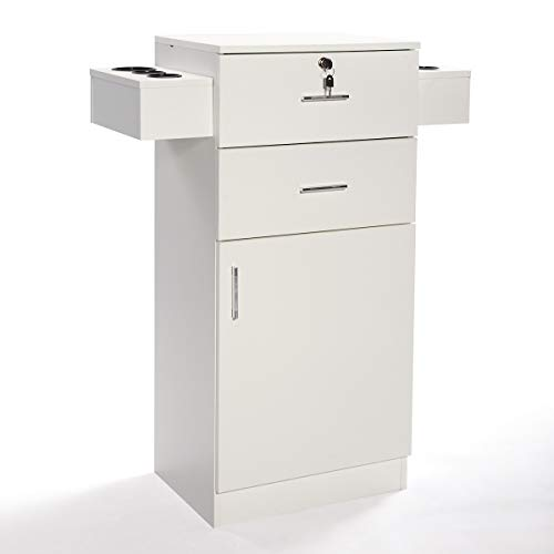 LAZYMOON White Salon Storage Station Locking Drawer Storage Cabinet Equipment 3-layer w/Hair Dryer Holder