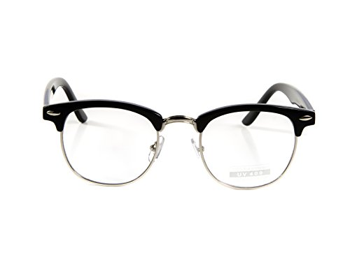 Goson Classic Black Silver Frame/Clear Lens Horned Rim Clubmaster Glasses - Glasses Fake Fashion For