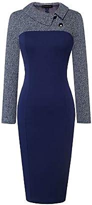 Homeyee Women's Retro Chic Colorblock Lapel Career Tunic Dress
