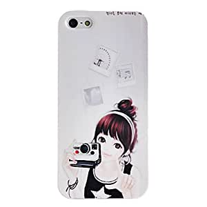 Beauty Girl with Camera Pattern TPU Soft GEL Case for iPhone 5/5S