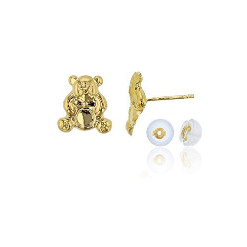 (Decadence Women's 14k Yellow Gold 8mm Polished Children's Teddy Bear Stud Earrings)