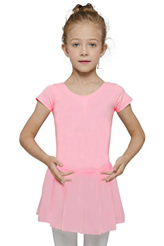[Mdnmd Girls' Short Sleeve Leotard (Tag 130) Age 6-8, Candy Pink)] (Dance Costumes Made Measure)