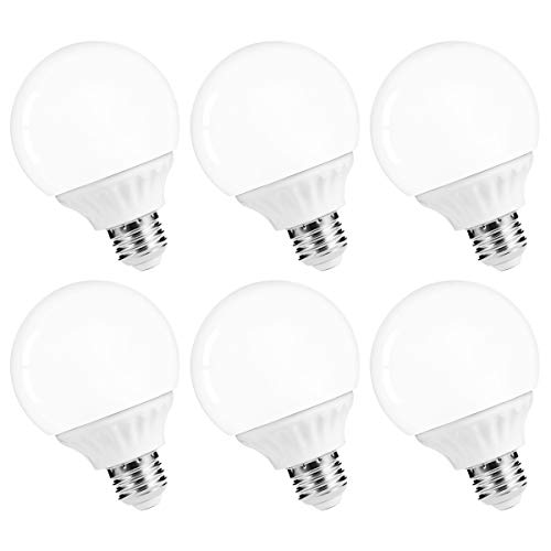 LOHAS LED Vanity Light Globe Bulb, 40W Equivalent LED G25 Bulbs Daylight 5000k, Bathroom Vanity Lighting LED Make Up Mirror Light, Brightness 500Lm Lights E26 Edison Base for Home, Not-Dimmable 6Pack ()