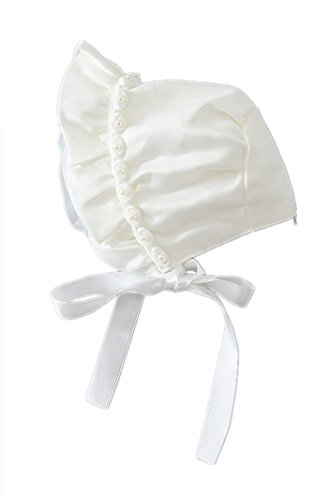 - H.X Baby Girls Christening Bonnet With Pearl Rose (0-6 months, Ivory)