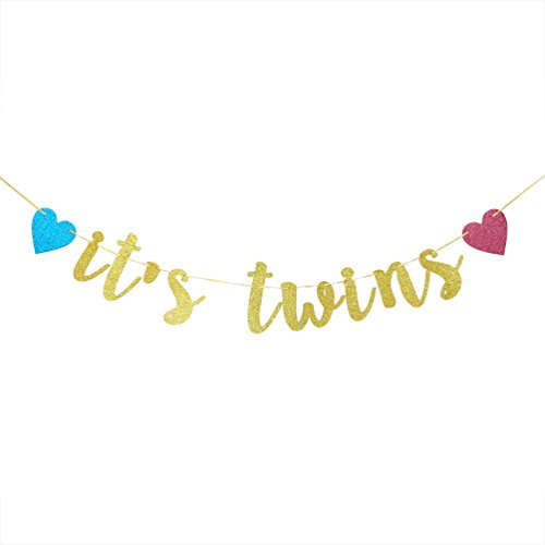INNORU It's Twins Banner - Gold Glitter Baby Shower Bunting Gender Reveal Party for Babies Twin Decorations Supplies ()